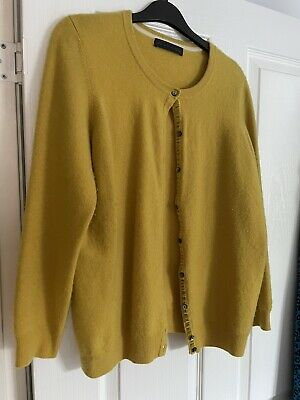 £12.99 • Buy M&S 100% Cashmere Cardigan In Mustard Yellow 12/14 Marks And Spencer