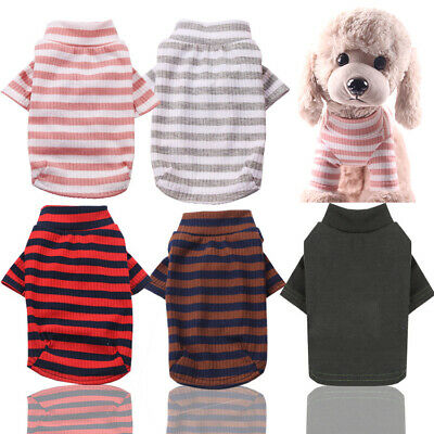 £4.38 • Buy Pet Dog Thick Warm Stripe Cotton Cute Clothes Coat Puppy Outfit Jumper Jacket UK