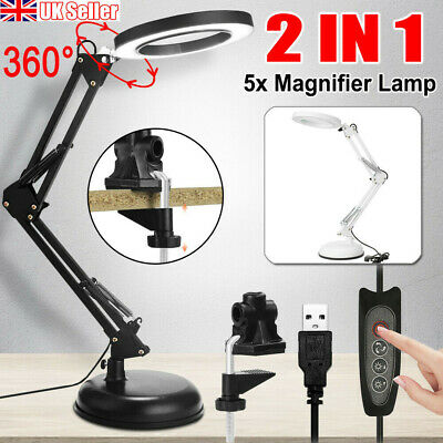 £14.99 • Buy LED Desk Lamp 5X Magnifier Glass Light Stand Clamp Foldable Beauty Magnifying