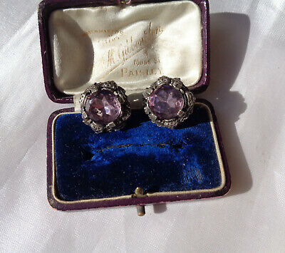 £1.99 • Buy Lovely Vintage Scottish Miracle Sparkly Amethyst Glass Clip On Earrings