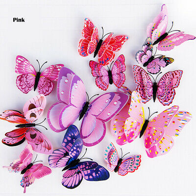 £0.07 • Buy Double Layer 3D Butterfly Wall Sticker Home Decor Magnet Fridge Stickers