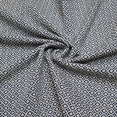 £5.99 • Buy Jersey Knit Fabric Navy  And Ivory Rhomb  Pattern 4 Way Stretch 49  Wide