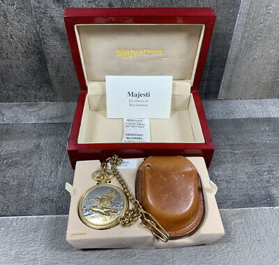 $45.95 • Buy Vintage Majestron Pocket Watch Eagle Hunting Red Lacquer Box Leather Pouch