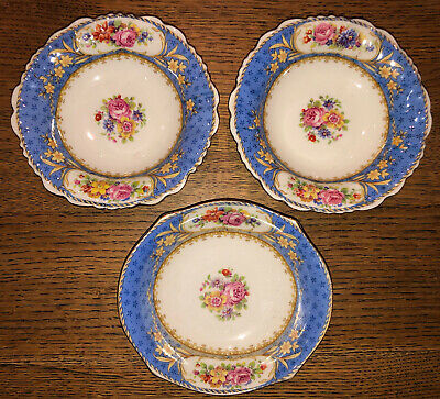 £6 • Buy Paragon Vintage China Dishes X 3 Pin Trays Blue With Roses