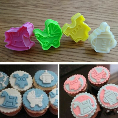 £2.99 • Buy 4x Baby Shower Clothes Cookies Plunger Cutter Mould Fondant Cake Biscuit Mold