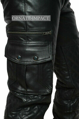 £72.45 • Buy Mens Leather Cargo Quilted Pants Real Leather Biker Pants Trousers Jeans