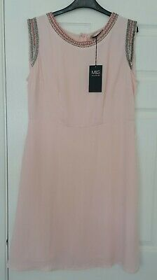 £3.49 • Buy Womens New Marks And Spencer Peach Roman Style Jewelled Neckline/arm Dress 16