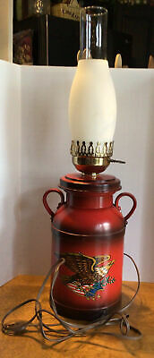 $25 • Buy Vtg. Americana Milk Can Table Lamp, American Eagle, Red Plastic Works