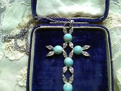 £10 • Buy Large Cross Pendant With Faux Turquoise & Diamante Stones & Chain.