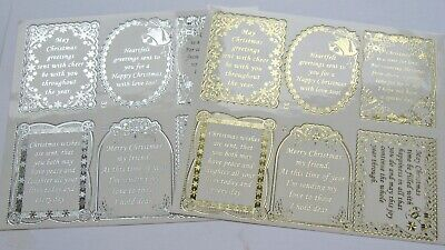 £1.79 • Buy Christmas Pinflair Foiled Embossed Sentiment Verse Peel Off Stickers Double Size