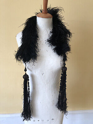 £45 • Buy Antique Ostrich Feather Boa With Handmade Long Tassels - VGC