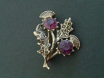 £4 • Buy Vintage Miracle Amethyst Scottish Thistle Gold Tone Brooch