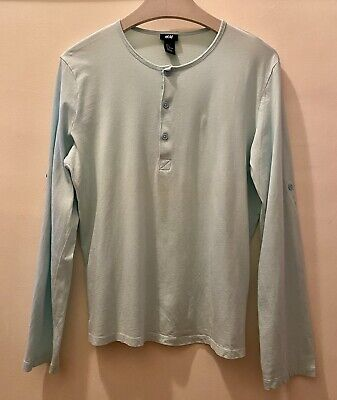 $6.50 • Buy Mens Light Blue Long Sleeve Henley Shirt With Convertible Sleeves Size M H&M