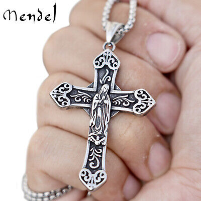 $11.99 • Buy MENDEL Mens Catholic Virgin Mary Our Lady Of Guadelupe Cross Pendant Necklace
