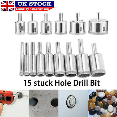 £8.29 • Buy 15pcs Diamond Cutter Coated Core Hole Saw Set Holes Saw Drill Bit Tile For Glass
