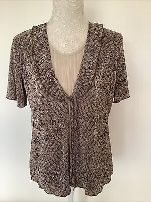 £4.99 • Buy Forever By Michael Gold Ladies Pleated Short Sleeve Top Size L