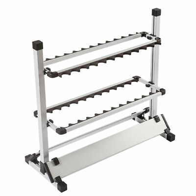 AU40.99 • Buy Fishing Rod Rack Stand 24 Slots Alloy Metallic Silver With Black Rack Foldable