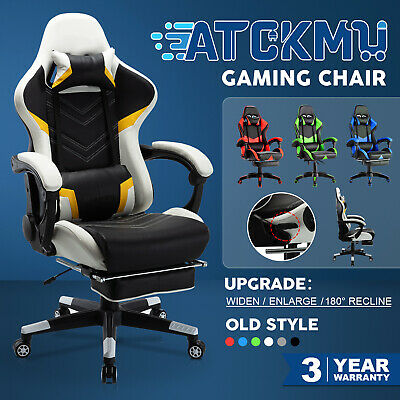 AU129.90 • Buy Gaming Chair Executive Office Computer Recliner Racer PU Leather Seat Footrest