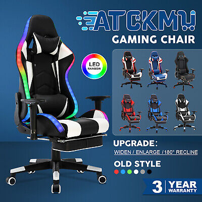 AU169.90 • Buy Gaming Chair 180° Recline Executive Office Computer Racer PU Leather W/Footrest