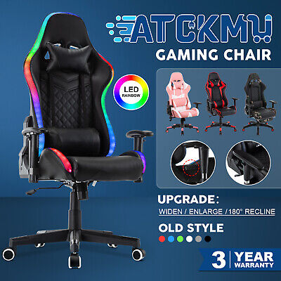 AU159.90 • Buy Computer Gaming Chair Executive Office Recliner Racer PULeather Seat Headrest