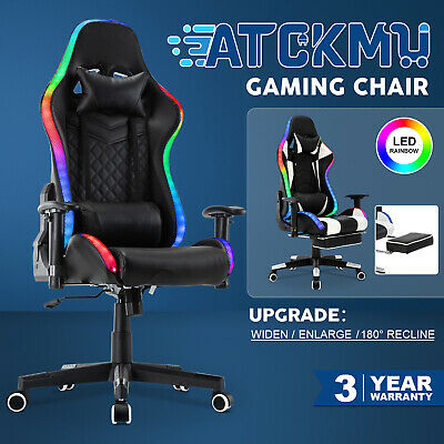 AU25.90 • Buy 180° Computer Gaming Chair Executive Office Racer Recliner PU Leather Seat W/LED