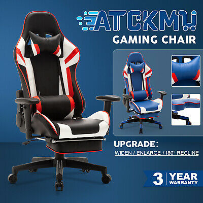 AU169.90 • Buy Gaming Chair 180° Recliner Executive Office Computer Ergonomic Design W/Footrest