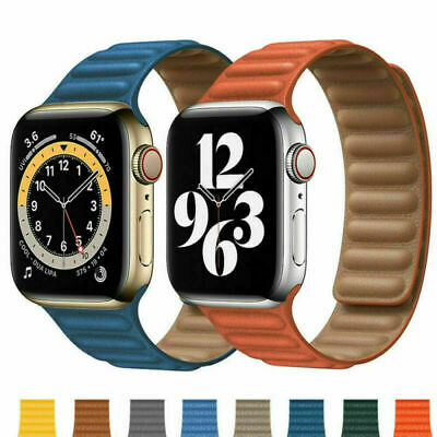 £8.99 • Buy For Apple Watch Series SE 6/5/4/3/2/1 Magnetic Loop Leather IWatch Strap Band