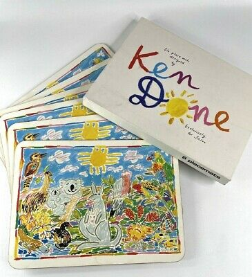 £18.32 • Buy Set Of 6 VTG Placemats Australian Animals By Ken Done Exclusively For Jason 1983