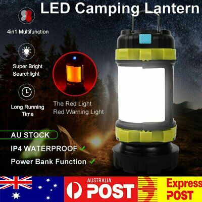 AU22.88 • Buy AU Rechargeable LED Camping Lantern Outdoor Tent Light Lamp & Power Flashlight