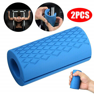 AU22.34 • Buy 1Pair Silicone Grips Thick Fat Barbell Gym Arm Wrap Bar Dumbbell Grip Weightlift
