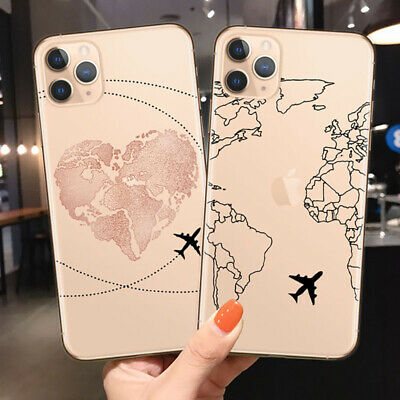 £5.80 • Buy Cartoon Love Travel Plane World Map Tourist Soft Case Cover For IPhone 12 11 Max