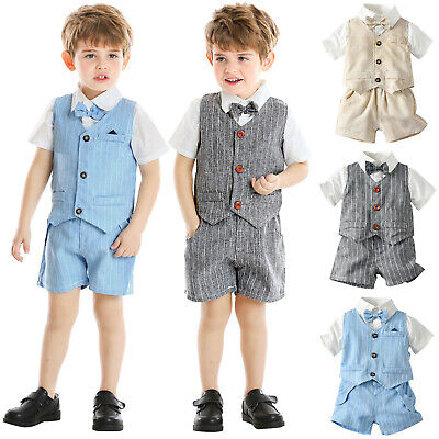 £11.95 • Buy Toddler Baby Boy Gentleman Bow Tie T-Shirt Plaid Striped Waistcoat+Shorts Outfit