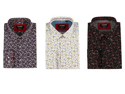 £15.50 • Buy Mens Floral Print Cotton-poly Slim Fit Long Sleeve Shirts Casual/Formal S-2XL