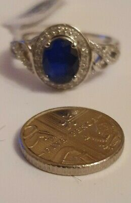 £22 • Buy Blue Spinel And Natural Cambodian Zircon Ring In Platinum Overlay Silver Size R.
