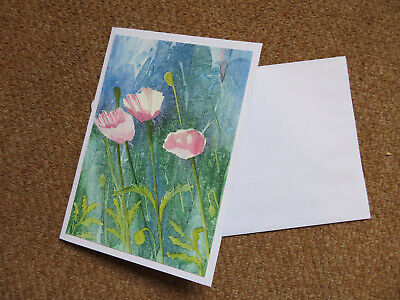 £3 • Buy HAND PAINTED GREETINGS CARD. Pink Poppys. (Not A Print) Signed & Dated.