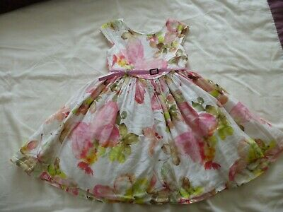 £12.50 • Buy Next Baby Girls Pink And White Floral Prom Dress Size Age 2-3 GUC!