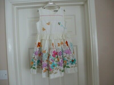 £16.50 • Buy  Next Baby Girls White & Cream Floral Prom Dress Size Age 3-4 BNWOT's!