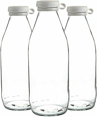 £8.49 • Buy PACK OF 3, SARINA,s Glass Milk Water Bottles With Lid Carafe Decanter - 1 Litre