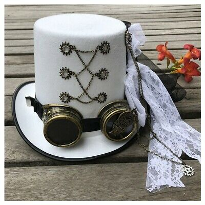 £29.36 • Buy Women  White Handmade Steampunk Top Hat With Gear Glasses & Lace Stage Magic Hat