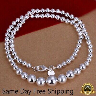 $4.99 • Buy Womens 925 Sterling Silver Hollow Balls Beads Chain Necklace #N169
