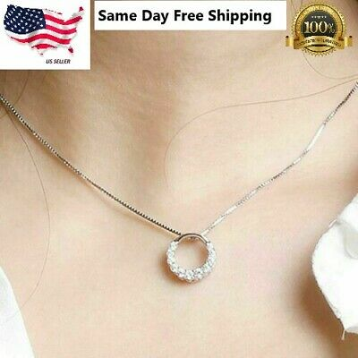 $3.95 • Buy Fashion 925 Silver Necklace Pendant For Women White Sapphire Wedding Jewelry