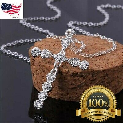 """$3.99 • Buy Women's 925 Sterling Silver Cubic CZ Crystal Cross Pendant Necklace 18"""" N4"""