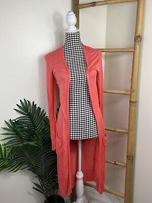AU21 • Buy Forever New Cardigan Size S (Fits 6-10) Pink Long Sleeve Viscose Thin Fabric VGC