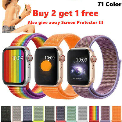 $ CDN6.21 • Buy Nylon Woven Sport Loop IWatch Band Strap For Apple Watch Series 4/3/2/1 38-44mm