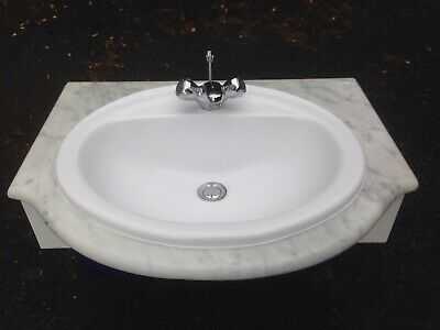 £40 • Buy Marble White Grey Sink Basin Top Curved Chrome Mixer Taps Bathroom Toilet