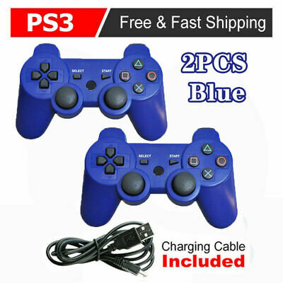 £15.89 • Buy UK Blue 2 Pack PS3 Bluetooth Wireless Controller Control For Playstation 3 FAST