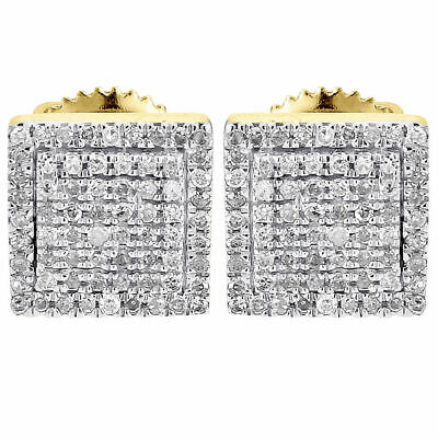 $119.99 • Buy Diamond Earrings Mens 10K Yellow Gold Fn Round Cut Square Studs Fully Iced 2 Ct