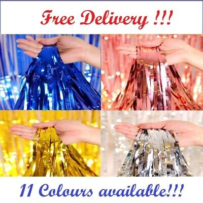 £2.75 • Buy 2M Foil Fringe Tinsel Shimmer Curtain Door Wedding Birthday Party DECORATIONS