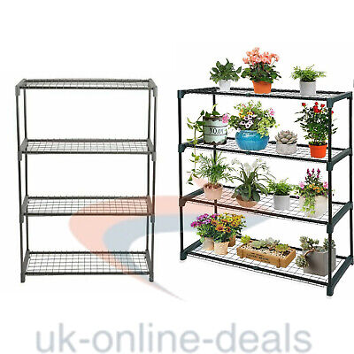 £21.95 • Buy 4Tier Greenhouse Shed Storage Steel Shelving For Plants & Flowers Shelves New
