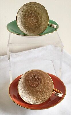 £9.99 • Buy Vintage Art Deco Aynsley Porcelain Pair Of Gold Gilded Cups & Saucers